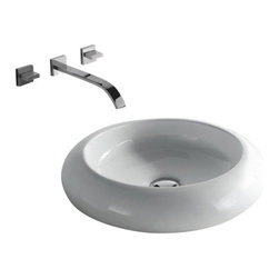 "TCS Home Supplies - Rounded Edge White / Black Porcelain Ceramic Countertop Bathroom Vessel Sink - Rounded Edge Design. Bathroom Vessel Sink. Porcelain Ceramic.  Exterior Diameter 19-1/2"". Interior Diameter 13"". Depth 4-3/4"". Compatible with Most Wall-Mount and Vessel Filler Faucets."