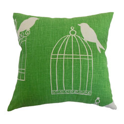 """The Pillow Collection - Alconbury Birds Pillow Green - An animal motif adorns this lovely throw pillow. The refreshing green hue of this accent pillow adds a fun vibe to your interiors. This square pillow is easy to coordinate with other color palettes and patterns. Place this 18"""" pillow on top of your favorite chair, bed or sofa. This decor pillow is perfect for casual settings and various decor styles. Made from 55% linen and 45% rayon fabric. Hidden zipper closure for easy cover removal.  Knife edge finish on all four sides.  Reversible pillow with the same fabric on the back side.  Spot cleaning suggested."""