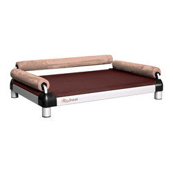 DoggySnooze - snoozeSofa, 3 Bolster Sand - If you spend half your time coaxing your pampered pooch off your couch, here's a sofa just for him. Elevated for comfort, with three sturdy bolsters to support him, this stylish dog bed comes in a selection of colors to complement your home or office decor. Made in the USA and available in three sizes, with optional black anodized frame, long legs and memory foam.