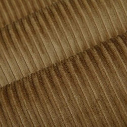 Viva Upholstery Fabric in Coffee - Viva in Coffee is a tan velvet upholstery fabric with channeled stripes. This fabric is incredibly durable and has a soft texture that's ideal for reupholstering furniture, or for creating bedding and pillows. Available in current colors, this velvet plush has a feel that's irresistible. Made from 100% Polyester. Fire Rating UFAC Class 1. Cal Tech Bulletin #117, SEC.E. 100,000 double rubs. 54″ wide. Additional yardage may be purchased on back-order.