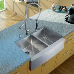 Vigo Industries - Platinum Farmhouse Kitchen Sink with Soap Dispenser - Includes stainless steel kitchen sink, stainless steel kitchen faucet, two strainers and stainless steel soap dispenser and all mounting hardware