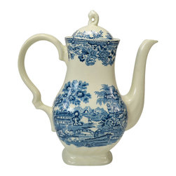 Tonquin by Myott on base - Consigned Large Blue and White Coffee Pot by Myott, Vintage English - Classical large coffee pot in blue and white with countryside landscape by Myott; vintage English, later 20th century.