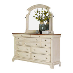 Homelegance - Homelegance Inglewood II 7-Drawer Dresser with Mirror in Antique White - Sophistication merges with elegant lines and classic shapes in the Inglewood II collection. The boldly designed lines of the traditional breakfront posts of the panel bed lend an air of casual elegance. Wood and metal-drawer pulls accent the traditional case pieces. Inglewood II collection is presented in an antique white finish with cherry finish case goods' top.