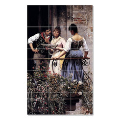 Picture-Tiles, LLC - On The Balcony Tile Mural By Eugen De Blaas - * MURAL SIZE: 30x18 inch tile mural using (15) 6x6 ceramic tiles-satin finish.