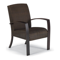 "Frontgate - Del Mar Dining Arm Chair, Patio Furniture - Contemporary, concealed cushion design. Handwoven of high-quality resin wicker. Corrosion-resistant aluminum frame. Frame has a new durable one-step coffee finish. Coffee-shaded wicker. The secret to our Del Mar Dining Arm Chair's comfort is a layer of 2-1/2"" thick reticulated foam hidden beneath the beautifully woven resin seat and back. Water flows through the foam and the perforated frame for quick-dry convenience. The sturdy aluminum frame has a new durable one-step coffee finish, giving this chair maintenance-free durability and weather-resistance. Part of the Del Mar Collection.  .  .  .  .  ."
