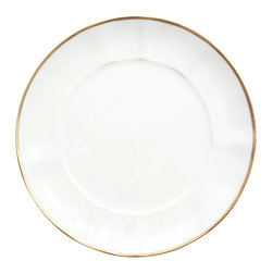 Anna Weatherley - Simply Elegant Gold Dinner Plate - This is a simply elegant collection with Anna Weatherley's signature shark's tooth gold banding. The collection works beautifully with all of Anna's lavishly decorated offerings.