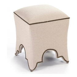 Kathy Kuo Home - Duvall Hollywood Regency Natural Linen Nail Head Ottoman Stool - A Global Bazaar shape covered with natural linen transcends many different decors. As comfortable as a seat, but versatile as an ottoman, this eclectic accent has limitless possibilities. Antique brass nail heads outline the top and base of this stylish stool.