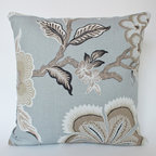 Designer Pillow Cover in Celerie Kemble's Hothouse Flower - Mineral Blue Hothouse Flower Pillow Cover- gorgeous!