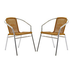 "LexMod - Bistro Dining Chairs Set of 2 in Natural - Bistro Dining Chairs Set of 2 in Natural - Perch artfully as your mind expands to synchronize with your surroundings. Hidden reserves of strength and joy well to the surface as you artfully direct every meeting. The Chromed Rattan Cafe Chair is a sure sign of accomplishments made public for all to see. Set Includes: Two - Chromed Rattan Cafe Chairs UV resistant, Waterproof synthetic woven rattan, Polished Chrome finish Overall Product Dimensions: 33.5""L x 21""W x 29""H Seat Height: 17.5""H - Mid Century Modern Furniture."