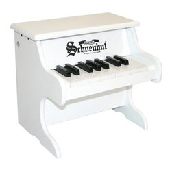 Schoenhut 18 Key White My First Piano - It's time to rock - er get classical - with the Schoenhut 18 Key White My First Piano. Little ones love the sound of the piano's hammers striking metal strings to create mesmerizing chime-like tones. The width of the keys promotes proper finger placement enabling an easy transition to a larger piano. About Schoenhut The Schoenhut story begins in the 1800s when a young Albert Schoenhut began to build toy pianos in his Wurtenberg Germany home. Born into a toy-making family Schoenhut knew his way around a piano at a young age. By the time he was 23 he had already founded the Schoenhut Piano Company. The business started with just pianos but grew to include a variety of instruments. When Schoenhut died in 1912 his company was the largest toy-maker in the United States. Today the company is owned by Len and Renee Trinca. In addition with Schoenhut's original designs Len has designed and crafted new prototypes to add to the company's line. Every product is guaranteed to bring 100 percent satisfaction it's the Schoenhut promise.