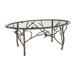 Rustic Pine Oval Coffee Table by Stone County Ironworks - Dimensions: