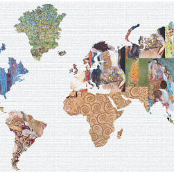 """Studio Map Mural - Klimt Collage 2 - Peel & Stick - 1 Panel - 74"""" x 36"""" - From our studio collection, decorative map themed prints in huge wall mural sizes. Instant color or texture to any room!   The peel and stick material goes up in seconds, is repositionable, and will not damage walls when removed. The finely woven fabric material will not wrinkle or bubble, and will stay put for years. This is an ideal material for dorm rooms and apartments where permanent modifications to walls are forbidden. Instantly add color and visual texture to your room with one of these easy to hang, map themed wall coverings. (Note that due to the flexibility and nature of the thin fabric material, uneven wall surfaces may show texture through the material. For best results apply to a smooth surface.)  Single panel murals come as a single sheet & are intended for one or two people to apply.  Studio Map Murals are made to order & are not returnable once opened.  Please allow two weeks for delivery.  Express shipping not available."""