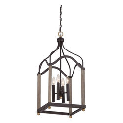 Quoizel - Quoizel Bordergate Chandelier, Western Bronze - BRG5204WT - Embracing a minimalist scheme, the Border gate foyer piece will shine a new light in your home. The painted faux wood finish and brass accents enhance the overall construction of this simplistic design which is perfect with the Western Bronze finish.