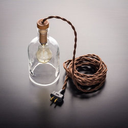 Art In The Age Pendant Bottle Lamp - Plug-in Style - A reclaimed clear glass bottle from Art In The Age finds new life as a beautiful pendant lamp.