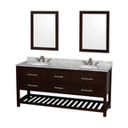 """Wyndham Collection - 72"""" Natalie Espresso Double Vanity w/ White Carrera Marble Top & Oval Sink - Classic yet elegantly modern, the Natalie bathroom vanity is a bold statement and a meaningful centerpiece for any bathroom. Inspired by the contemporary American design ethic and crafted without compromise, these vanities are designed to complement any decor, from traditional to minimalist modern."""