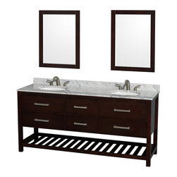 "Wyndham Collection - 72"" Natalie Espresso Double Vanity w/ White Carrera Marble Top & Oval Sink - Classic yet elegantly modern, the Natalie bathroom vanity is a bold statement and a meaningful centerpiece for any bathroom. Inspired by the contemporary American design ethic and crafted without compromise, these vanities are designed to complement any decor, from traditional to minimalist modern."