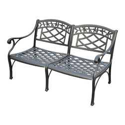 Crosley - Sedona Cast Aluminum Loveseat in Charcoal Black Finish - It may be hot outside, but you'll feel cool kicking back in our heavy duty, solid-cast aluminum furniture. Designed for style and built to last, this armchair features a durable charcoal black powder coated finish that will weather the harshest of outdoor conditions. Experience pure nirvana while unwinding in the chair's comfortable contoured seats. Your very own outdoor oasis awaits you.