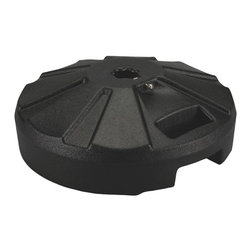"PLC - Black Umbrella Base - Molded resin umbrella base with stainless steel hardware. For use with umbrellas up to a 1 -1/2"" diam. pole. Easy fill spout and cap to secure up to 50 lbs. of sand filler for weight. Ideal for use under outdoor dining tables.  Dimensions: 6-1/2 "" tall X 16"" diam."