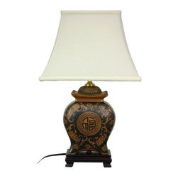 "Oriental Furniture - 19"" Black and Brown Medallions Porcelain Lamp - Elegantly hand-crafted by artisans in China's Guangdong province, this beautiful piece combines a Song dynasty style porcelain vase with a carved wooden base. The porcelain part of the lamp features a textured glaze sure to add a colorful accent to any room. A fabric shade on a steel frame completes the design. This porcelain lamp features a three-way light fixture and includes a soft hand made shade."