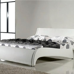 Leather Bed - Italian Leather - HX-A030 - Genuine Italian leather on headboard and leather match on the sideboards and back