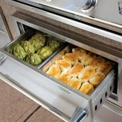 """Twin Eagles - TEWD42CB 42"""" Warming Drawer Combo with 2.1 cu. ft. Capacity  2 Steam Pans  Conce - You get all the great features of our versatile warming drawer plus the benefit of additional storage This deluxe combination includes a warming drawer with a practical oversized storage drawer and slide out trash holder or LP tank holder"""