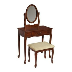 """PWL605-290 - Woodland Cherry Wood Finish Vanity, Mirror & Bench - Woodland cherry wood finish Vanity, Mirror & Bench.  The woodland cherry Vanity is a classic and timeless bedroom addition. The vanity has a wide top, perfect for displaying and storing perfumes, makeup, jewelry and more. A single drawer provides storage for small items. The large mirror can easily be adjusted to your optimal viewing position. The vanity features a rich, warm woodland cherry finish. The accompanying stool is topped with a plush, neutral upholstered seat. Each piece features slightly curved legs.  Vanity set Measures:  Vanity: 28-1/4"""" x 16-3/8"""" x 51-1/2"""" tall, Bench: 18-3/4"""" x 14-3/8"""" x 17-3/8"""" tall.  Some Assembly May Be Required.  Material Content: Cashew wood, Mango wood, Particleboard with Veneer"""
