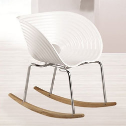 Fine Mod Imports - Arm Rocker Chair in White - Set of 2 - Set of 2. Contemporary style. White polypropylene seat. Stainless steel legs. Ash wood base. Warranty: One year. Made from ABS. Assembly required. Seat: 14.5 in. W x 17.5 in. H. Overall: 25.5 in. W x 23 in. D x 30 in. H (25 lbs.)
