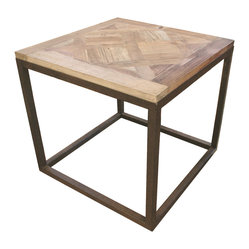 Kathy Kuo Home - Gramercy Modern Rustic Reclaimed Parquet Wood Iron Side Table - Unique enough to make a statement, simple enough to suit any decor. This versatile side table boasts modern lines and a salvaged parquet wood surface to mix confidently with your other pieces.