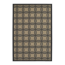 "Couristan - Five Seasons Retro Clover Rug 3094/4016 - 4'11"" x 7'6"" - The days of boring 'Welcome' mats are over add one of these fresh designs to your front patio and greet guests with a truly welcoming touch. Create a permanent outdoor breakfast nook by using these durable area rugs to complement a bistro table and some cushioned chairs."