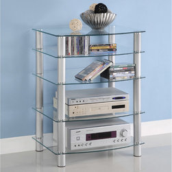 Walker Edison - Glass Component Media Stand - This conveniently versatile component/media stand allows you to customize the unit to meet your exact needs. Shelves may be interchanged or left out altogether, offering heights ranging from 3 to 33 inches.