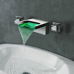 Waterfall Faucets - Contemporary Waterfall Wall Mount 3 Colors LED Bathroom Faucet--FaucetSuperDeal.com