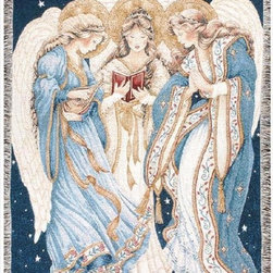Manual - Three Angels Inspirational Tapestry Blanket 50 Inch x 60 Inch - This multicolored woven tapestry throw blanket is a wonderful addition to any home. Made of cotton, the blanket measures 50 inches wide, 60 inches long, and has approximately 1 1/2 inches of fringe around the border. The blanket features a trio of singing angels. Care instructions are to machine wash in cold water on a delicate cycle, tumble dry on low heat, wash with dark colors separately, and do not bleach. This comfy blanket makes a great gift for friends and family.