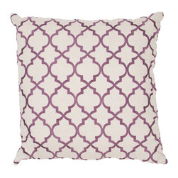 JRCPL - Handmade Embroidered Geometric Cotton 20x20-inch Throw Pillow - Handmade Purple/ Ivory/ White Cotton (20''x20'') Pillow
