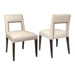Atelier of Prague, Inc / Jan Rosol - LaCasa Dining Chairs - Jan Rosol LaCasa Collection fully upholstered dining chair, shown in coffee bean finish and ivory leather upholstery with optional nailheads,