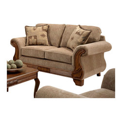 Chelsea Home - Transitional Glendale Loveseat - Includes toss pillows. Loveseat with traveler havana cover. Pillows with botany cover. Seating comfort: Medium. Kiln-dried hardwood frame. Stress points are reinforced with blocks to secure long lasting frame. Sinuous springing system manufactured with reinforced 16-gauge border wire. Double springs are used on the ends nearest the arms to give balance in the seating. Hi-density foam cores with dacron polyester wrap cushions. Cushions made with zippers. Made from 100% polyurethane. Made in USA. No assembly required. 76 in. L x 39 in. W x 38 in. H (100 lbs.)