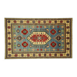 Manhattan Rugs - New Mesa Collection Veg Dyed Sky Blue Kazak 6x9 Hand Knotted Wool Area Rug H3672 - Kazak (Kazakh, Kasak, Gazakh, Qazax). The most used spelling today is Qazax but rug people use Kazak so I generally do as well.The areas known as Kazakstan, Chechenya and Shirvan respectively are situated north of Iran and Afghanistan and to the east of the Caspian sea and are all new Soviet republics. These rugs are woven by settled Armenians as well as nomadic Kurds, Georgians, Azerbaijanis and Lurs.  Many of the people of Turkoman origin fled to Pakistan when the Russians invaded Afghanistan and most of the rugs are woven close to Peshawar on the Afghan-Pakistan border.  There are many design influences and consequently a large variety of motifs of various medallions, diamonds, latch-hooked zig-zags and other geometric shapes. However, it is the wonderful colors used with rich reds, blues, yellows and greens which make them stand out from other rugs. The ability of the Caucasian weaver to use dramatic colors and patterns is unequalled in the rug weaving world. Very hard-wearing rugs as well as being very collectable.