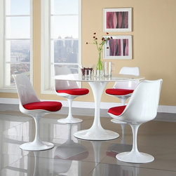 Modway - Modway Lippa 5-Piece Dining Set - Red Multicolor - EEI-854-RED - Shop for Dining Sets from Hayneedle.com! Va va voom the Modway Lippa 5-Piece Dining Set - Red is an instant way to add glamour to your dining room. The pedestal base table and four matching chairs in this set are sleek and modern. The pedestal bases are crafted of white lacquered cast aluminum. The chairs have smooth swiveling seats topped with padded cushions upholstered in vivid red cloth. The reinforced bonded white finish maintains its gloss through years of use. The dining table and chairs are treated with a clear protective finish that resists scratches stains and scuffs.About ModwayModway designs and manufactures modern classic furniture pieces for the contemporary home. The quality pieces are fresh and elegant with a distinctively updated appeal. Simple clean lines and a vibrant selection of colors and finishes make these pieces perfect for the home or office. A wide selection of products include pieces for the living room dining room bar office and outdoors. High-quality and innovative designs make Modway the premier company for luxurious modern style.