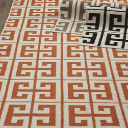 Horchow - Oran Greek Key Flatweave Rug, 5' x 8' - Bold color and an on-trend Greek-key pattern make this flatweave rug an ideal choice for today's lifestyle. Handwoven of wool. Select color when ordering. Size is approximate. Imported.