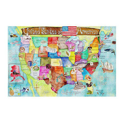DiaNoche Designs - United States MAP Area Rug - Finish off your bedroom or living space with a woven area rug with chevron pattern from Dianoche Designs. The last true accent in your home decor that really ties the room together. Maybe its a subtle rug for your entry way, or a conversation piece in your living area, your floor art will continue to dazzle for many years. 1/4 thick. Each rug is machine loomed, washed and pre-shrunk, printed, then hemmed on the edges. Spot treat with warm water or professionally clean. Dye Sublimation printing adheres the ink to the material for long life and durability