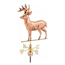 G.D. - Good Directions Standing Deer Weather Vane - Polished Copper - Every muscle alert, this handsome, fully antlered buck surveys his surroundings from the rooftop of your house, barn, garage, or cupola. Our Good Directions' artisans use Old World techniques to handcraft this fully functional, standard-size weathervane that's unsurpassed in style, quality and durability. A great gift for wildlife enthusiasts!