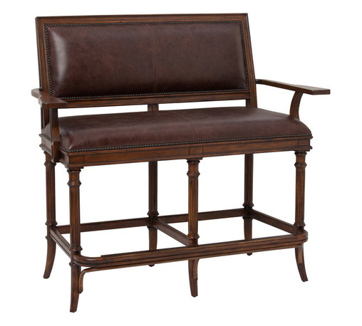 Ambella Home - Churchill Settee - Bar Height - While Winston himself probably never sat on this settee there's nothing stopping you. Grand and imperious, this mahogany finished bench has plush leather upholstery and delicately turned legs. Don't be deceived by its looks though, it's a workhorse and can easily seat two grownups (or one Winston).