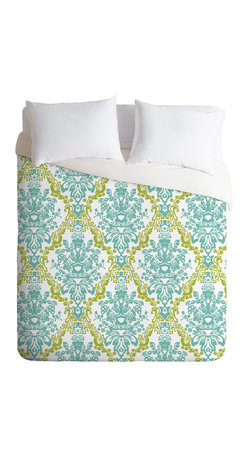 DENY Designs - Rebekah Ginda Design Lovely Damask Duvet Cover - Turn your basic, boring down comforter into the super stylish focal point of your bedroom. Our Luxe Duvet is made from a heavy-weight luxurious woven polyester with a 50% cotton/50% polyester cream bottom. It also includes a hidden zipper with interior corner ties to secure your comforter. it's comfy, fade-resistant, and custom printed for each and every customer.