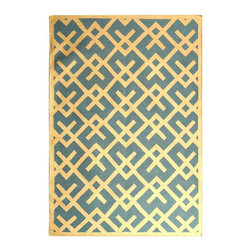 Safavieh - Light Blue and Ivory Wool Area Rug (2 ft. 6 in. x 10 ft. Runner) - Size: 2 ft. 6 in. x 10 ft. Runner. Flat weave. Made of wool. Made in India.