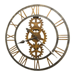 "Howard Miller - Howard Miller Crosby 30"" Large Wall Clock - This is truly sculptural art for your wall. And not only does it look stunning, it keeps time! Cast metal gears and numerals are finished in antique brass that contrasts with the warm gray iron inner and outer rings and hands."