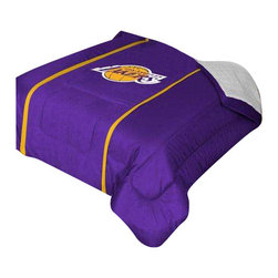 """Zappysales - Los Angeles Lakers Sidelines Comforter Queen - Comforter Full/Queen 86"""" x 86"""". Covers are 100% Polyester Jersey top and bottom side, filled with 100% Polyester Batting. Logos are screenprinted. Machine washable in warm water, and tumble dry on low heat."""