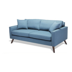 True Modern - Dane Loveseat Sofa-Calvin WheatGrass - A classic all on its own, the TrueModern Dane standard sofa makes a statement even without the added chaise (sold separately). Perfect for any room in your home, Dane's sleek and classic shape features super slim arms and Danish legs. Available in 6 standard colors: Ivory, Chocolate, Charcoal, Mouse, Dolphin and Wheatgrass. Pillows not included.