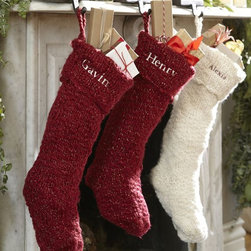 Chunky Knit Metallic Stocking - I love the simplicity of these chunky knit stockings. They would look so warm and cozy on the mantel.