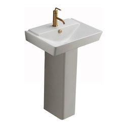 """KOHLER - KOHLER K-5152-1-0 Reve 23"""" Lavatory Basin and Pedestal - KOHLER K-5152-1-0 Reve 23"""" Lavatory Basin and Pedestal in White"""