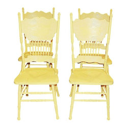 Pre-owned Yellow Pressback Chairs - Set of 4 - A heartwarming set of four American pressback carved dining chairs, that have been freshly painted in yellow Chalk Paint®. They have a slight amount of shabby chic style distressing and a durable Annie Sloan wax finish. Both comfortable and strong, this set of 4 is ready to bring new life to your space!