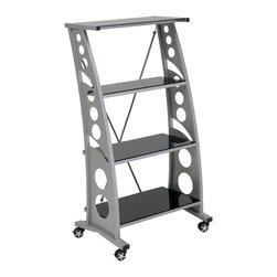 Pitstop Furniture - Pitstop Black Chicane Bookshelf - Pitstop Black Chicane Bookshelf